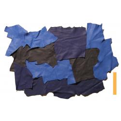 3 kg Chutes de Cuir Peau de Taurillon Nuances de Bleu