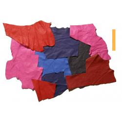 3 kg Chutes de Cuir Peau de Taurillon Rose, Rouge, Bleu