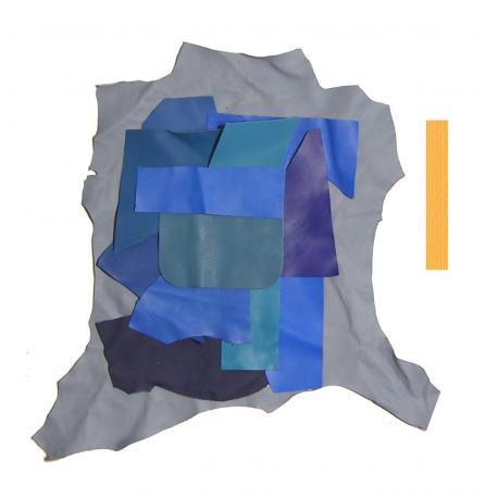 Lot 0,5 kg Chutes de Cuir nuances de bleu