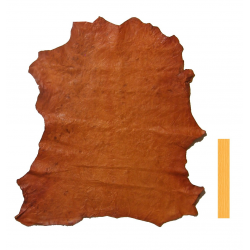 Peau Entière Cuir d'Agneau Orange Huilé et Plissé